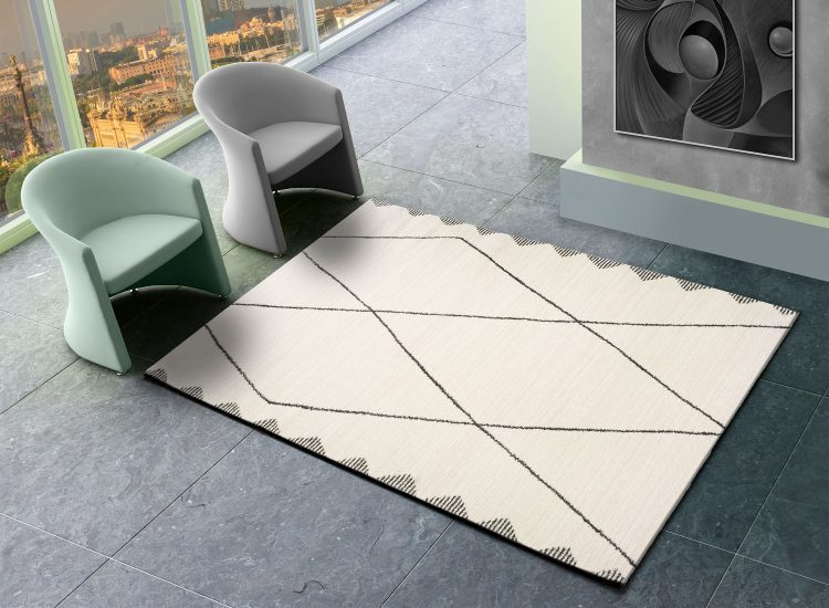Tapis rectangulaire moderne beige AKES 80x150