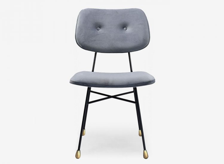 Chaise Nadja velours gris face